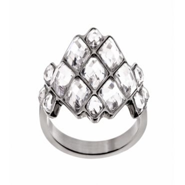 Ilona Steel Multi Crystal Ring Large