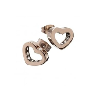Monaco Heart Rose Gold Plated Studs