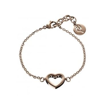 Monaco Heart Rose Gold Plated Thin Bracelet