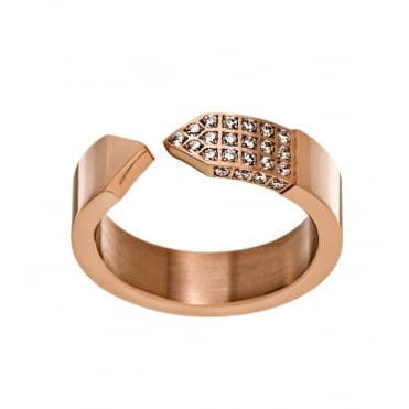 Mountain Rose Gold Plated Cubic Zirconia Ring Medium