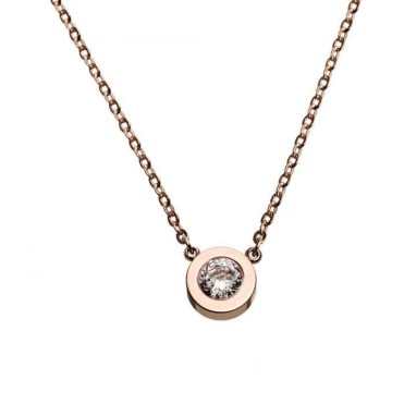Stella Rose Gold Plated Cubic Zirconia Solitaire Necklace