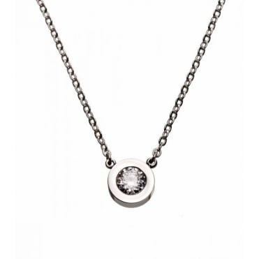Stella Steel Round Solitaire Necklace