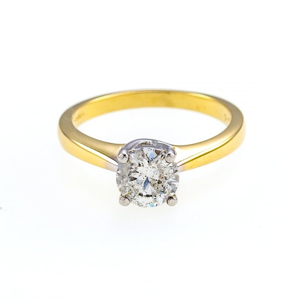 diamond white a jewellery engagement gold solitaire ring with in carat