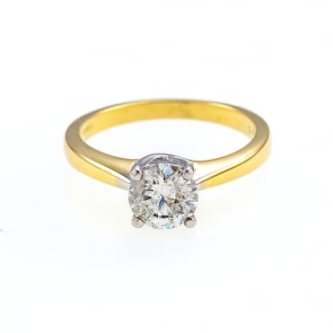 18ct Gold 1 Carat Diamond Solitaire Ring