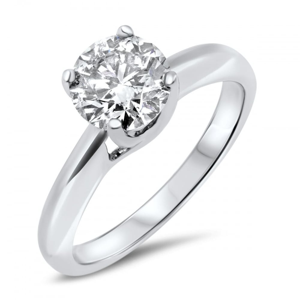 carat ring solitaire d diamond round jewellery gold