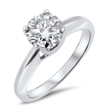 18ct White Gold 1 1/2 Carat Diamond Solitaire Ring