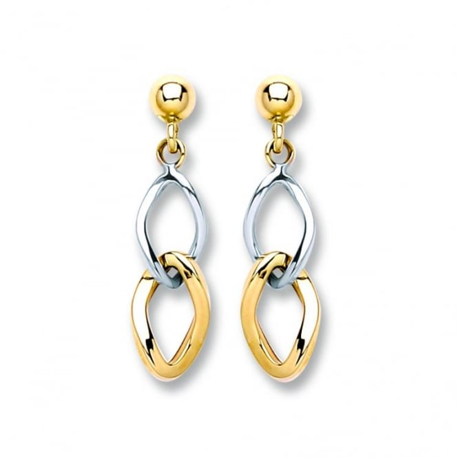 Eternity 9ct 2 Colour Gold Curb Drop Earrings