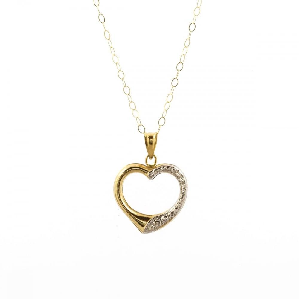 Eternity 9ct 2 colour gold open heart pendant and 16 trace chain 9ct 2 colour gold open heart pendant and 16039 aloadofball Choice Image