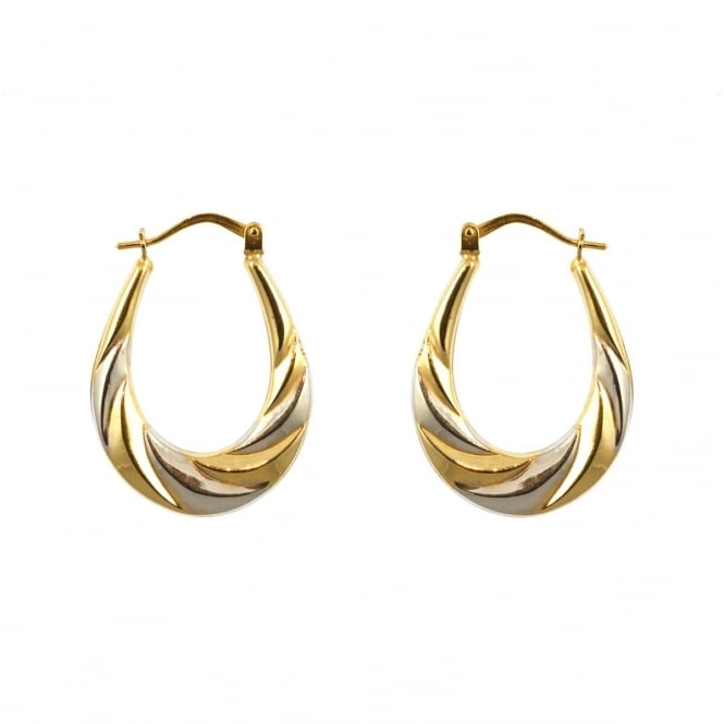 Eternity 9ct 2 Colour Gold Oval Ridged Creole Earrings