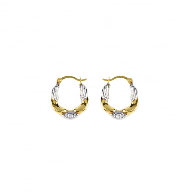 Eternity 9ct 2 Colour Gold Small Fancy Creole Earrings