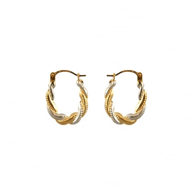 Eternity 9ct 2 Colour Gold Small Oval Creole Earrings