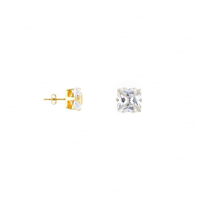Eternity 9ct Gold 6mm Square Cubic Zirconia Stud Earrings