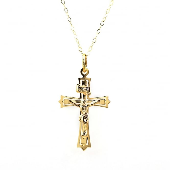 Eternity 9ct Gold Crucifix Pendant and 16'' Trace Chain
