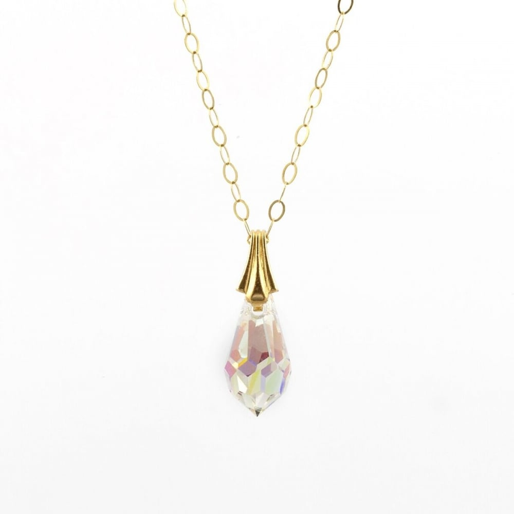 Eternity 9ct gold crystal bomber drop pendant and 16 trace chain 9ct gold crystal bomber drop pendant and 16039 mozeypictures Gallery
