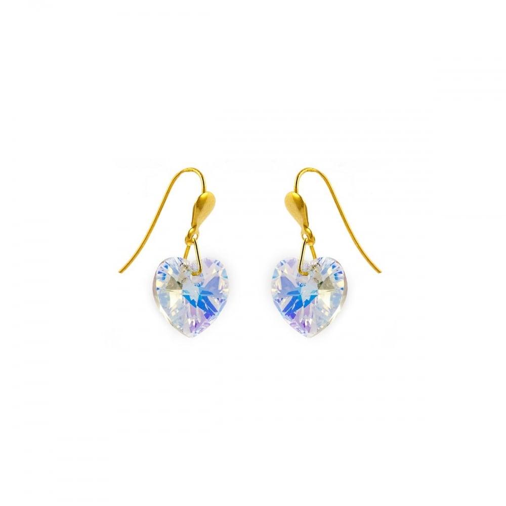 500c19b19dc0d 9ct Gold Crystal Heart Drop Earrings