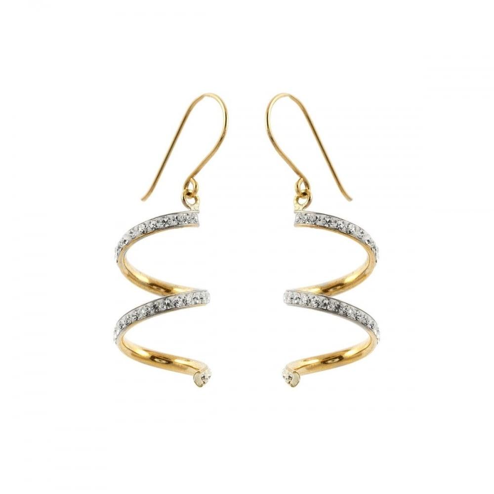 05177537c2fd9 9ct Gold Crystal Set Spiral Drop Earrings