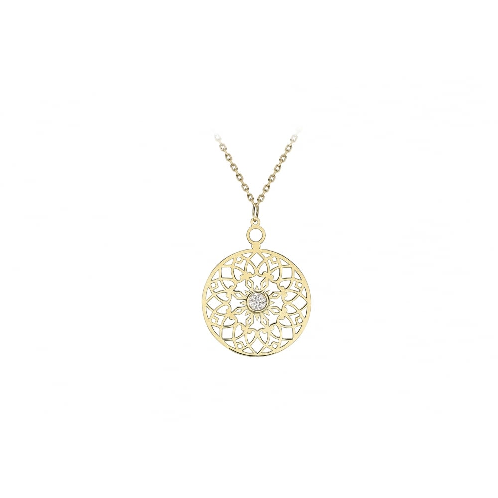 79cc0b26f9837 9ct Gold Cubic Zirconia Filigree Necklace