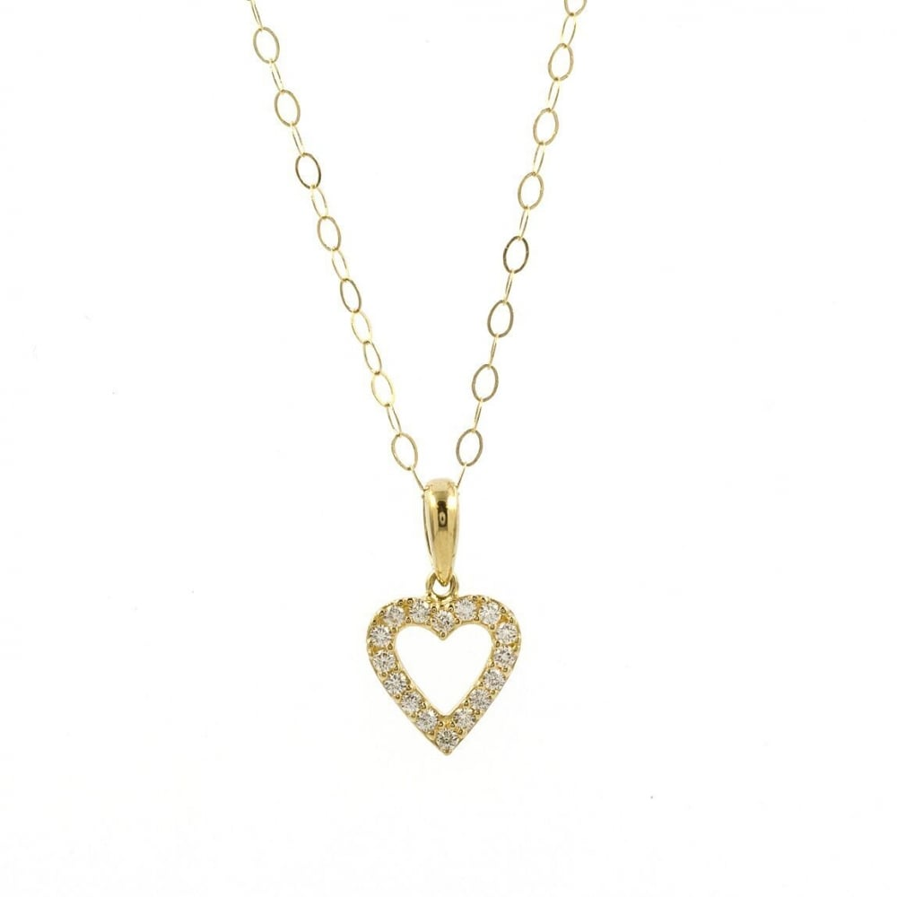 Eternity 9ct Gold Cubic Zirconia Small Heart Pendant And 16