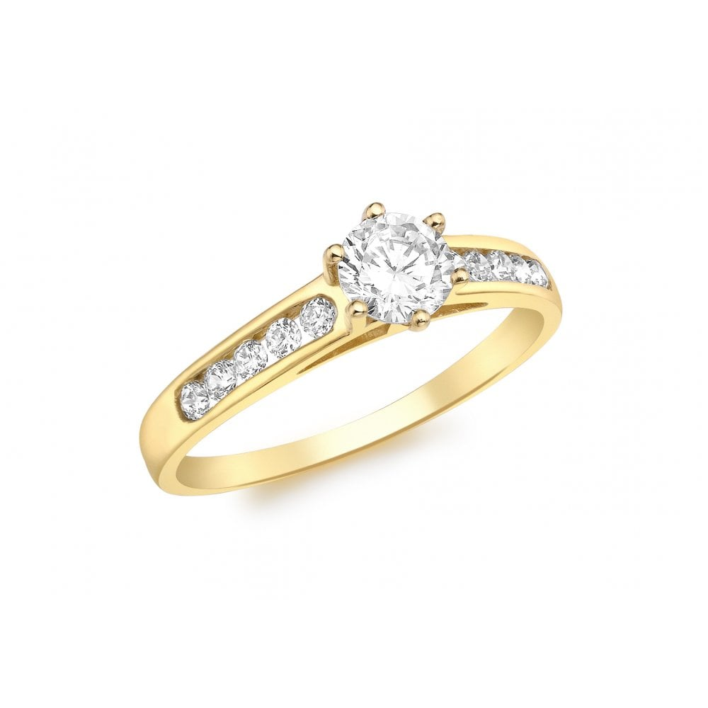 Eternity 9ct Gold Ladies Cubic Zirconia Ring With Cubic Zirconia Shoulders Size J Jewellery From Eternity The Jewellery Store Uk