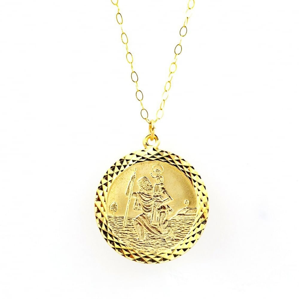 Eternity 9ct Gold Large Round Diamond Cut St Christopher Pendant and ... 7721c8b6fb
