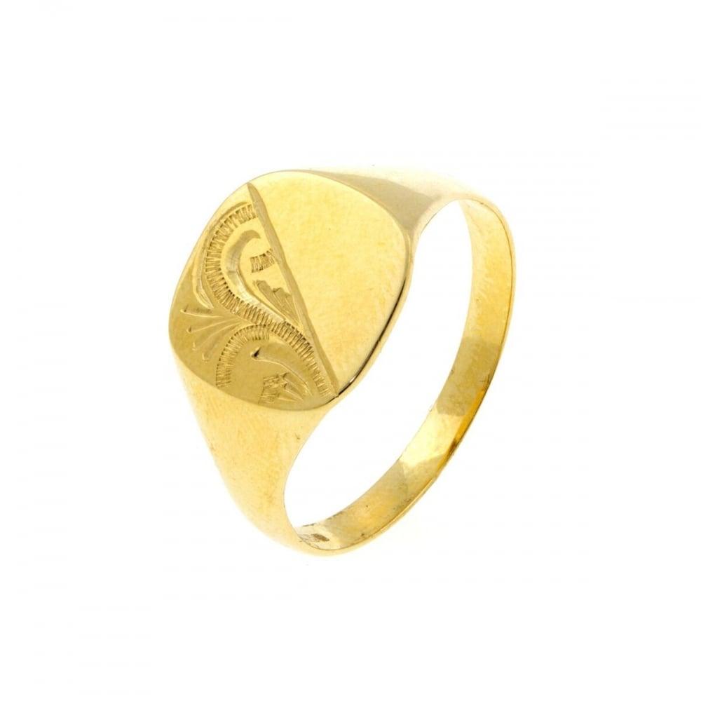 517af93a5bbf6 Eternity 9ct Gold Mens Cushion Engraved Signet Ring Size U