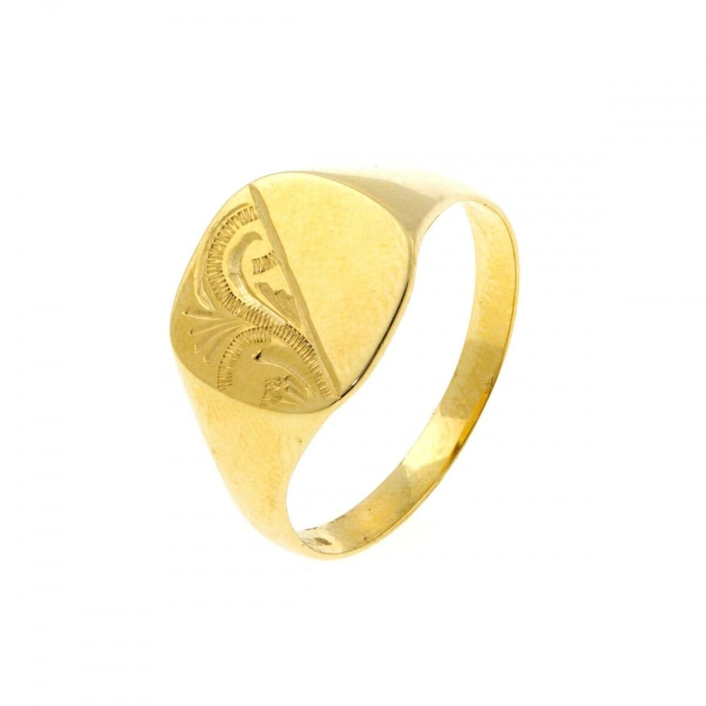 Eternity 9ct Gold Mens Cushion Engraved Signet Ring Size W