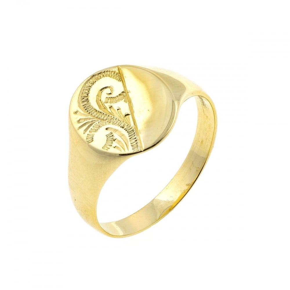 Eternity 9ct Gold Mens Oval Engraved Signet Ring Size R Jewellery