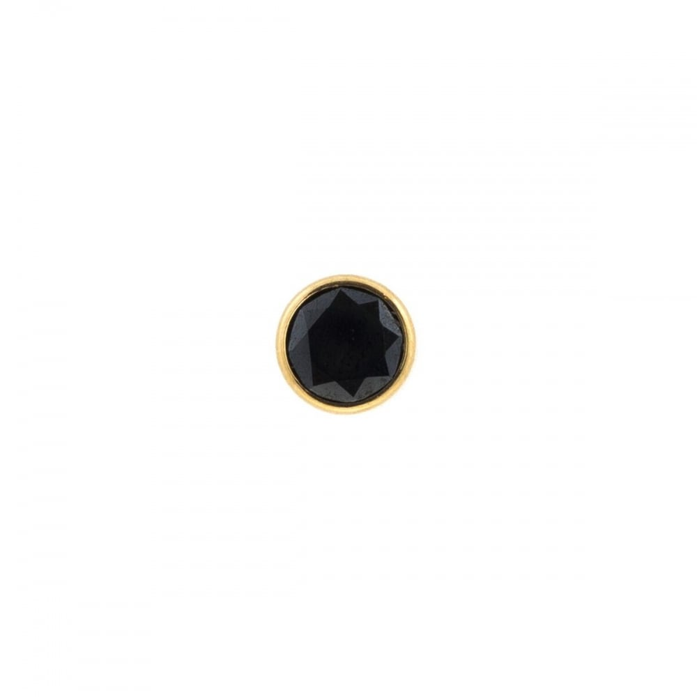 6ab75a530560e 9ct Gold Mens Round Black Stone Stud Earring