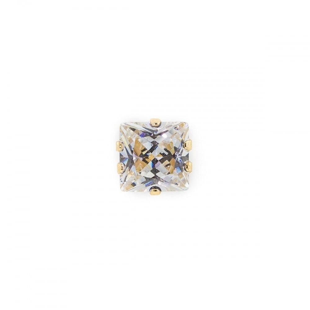 Eternity 9ct Gold Mens Square Cubic Zirconia Stud Earring