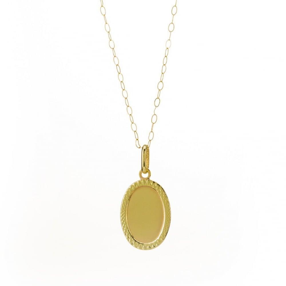 a87bce0b13dba 9ct Gold Oval Diamond Cut Disc Pendant and 16