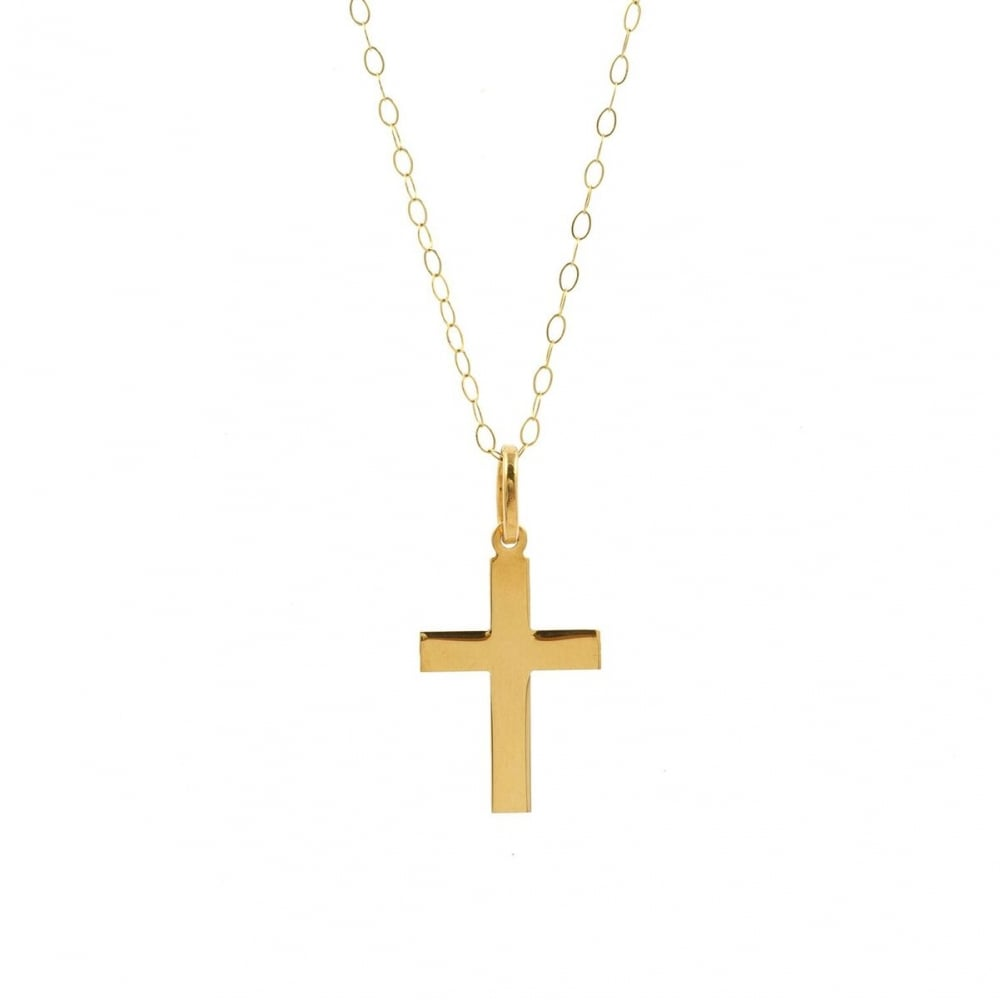 Eternity 9ct gold plain cross pendant and 16 trace chain 9ct gold plain cross pendant and 16039 aloadofball Image collections