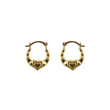 9ct Gold Small Heart Kids Creole Hoop Earrings