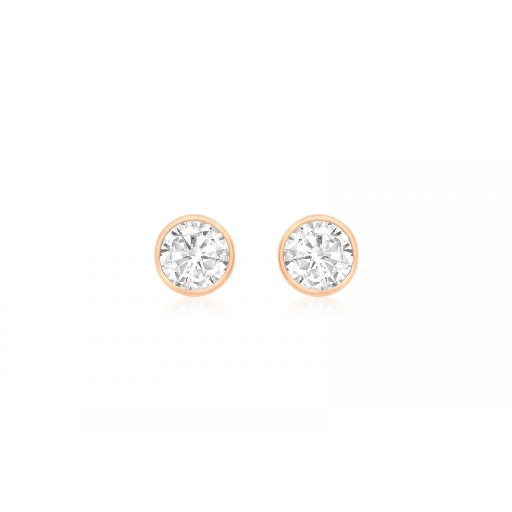 81a874a13 Eternity 9ct Rose Gold Cubic Zirconia Rubover Stud Earrings ...