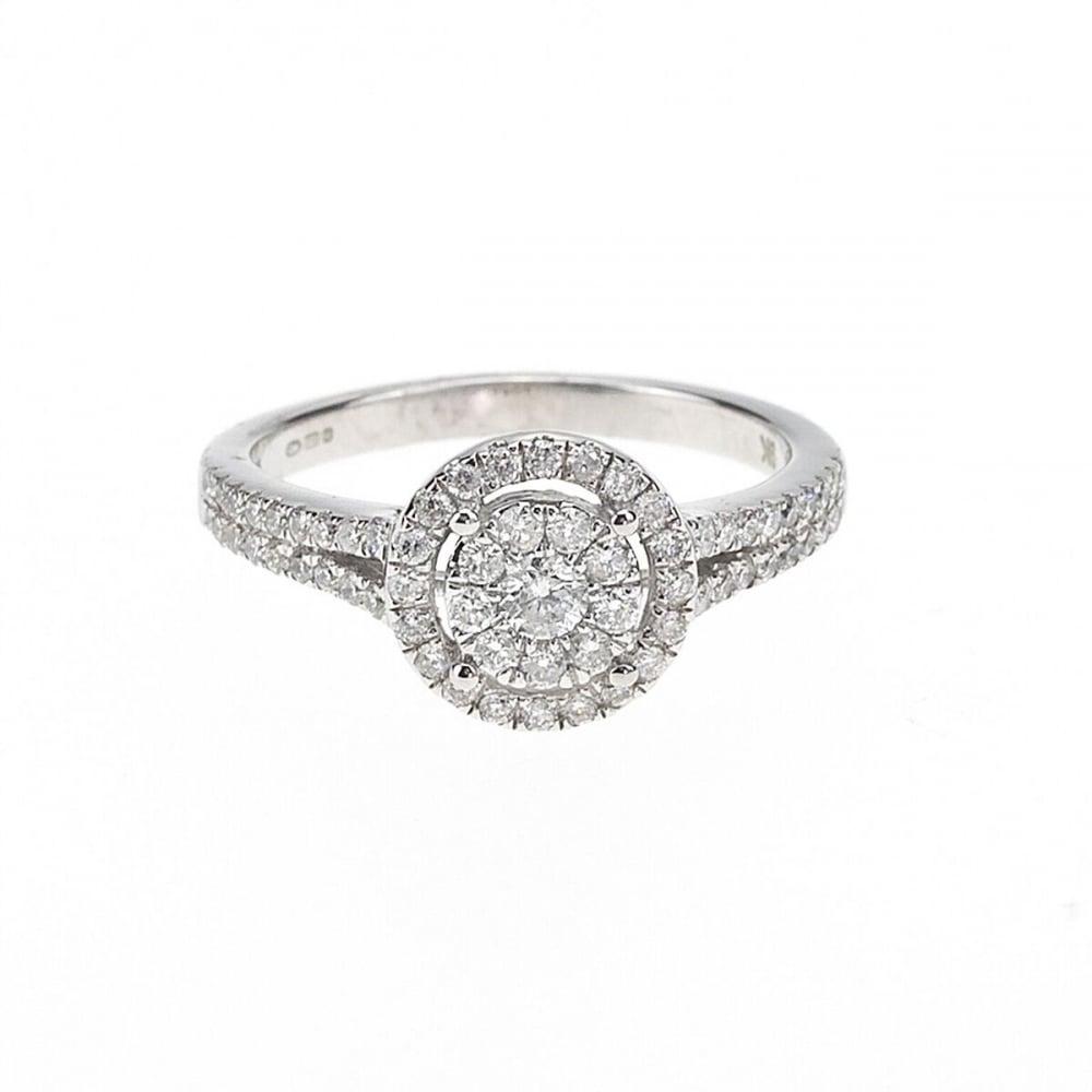 Ladies 9ct White Gold 1 2 Carat Diamond Halo Cluster Ring