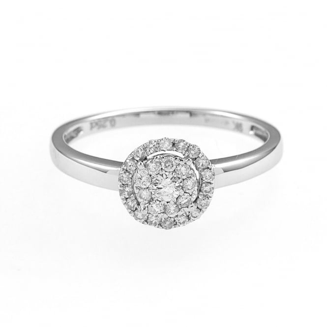 Eternity 9ct White Gold 1/4 Carat Diamond Halo Cluster Ring