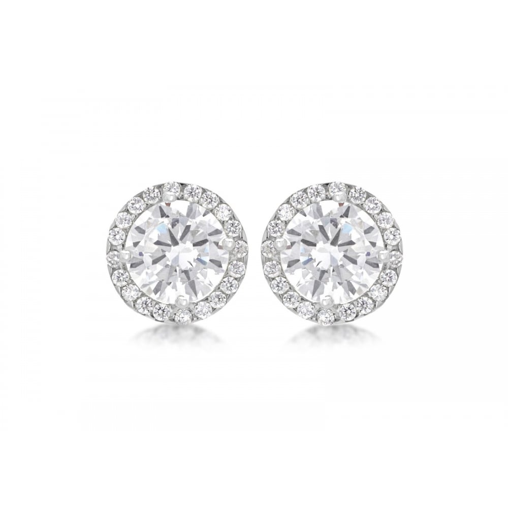 cubic zirconia sterling silver stud round earrings new image halo jewellery