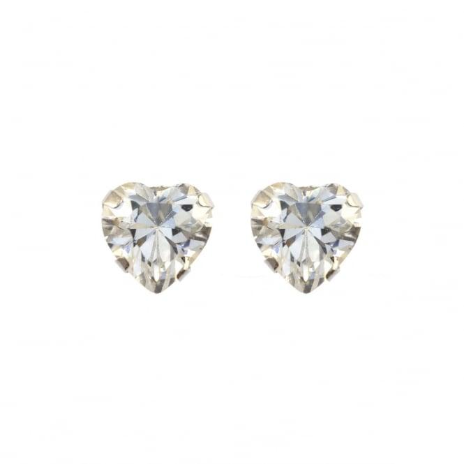 726e79db8 Eternity 9ct White Gold Cubic Zirconia Heart Stud Earrings ...