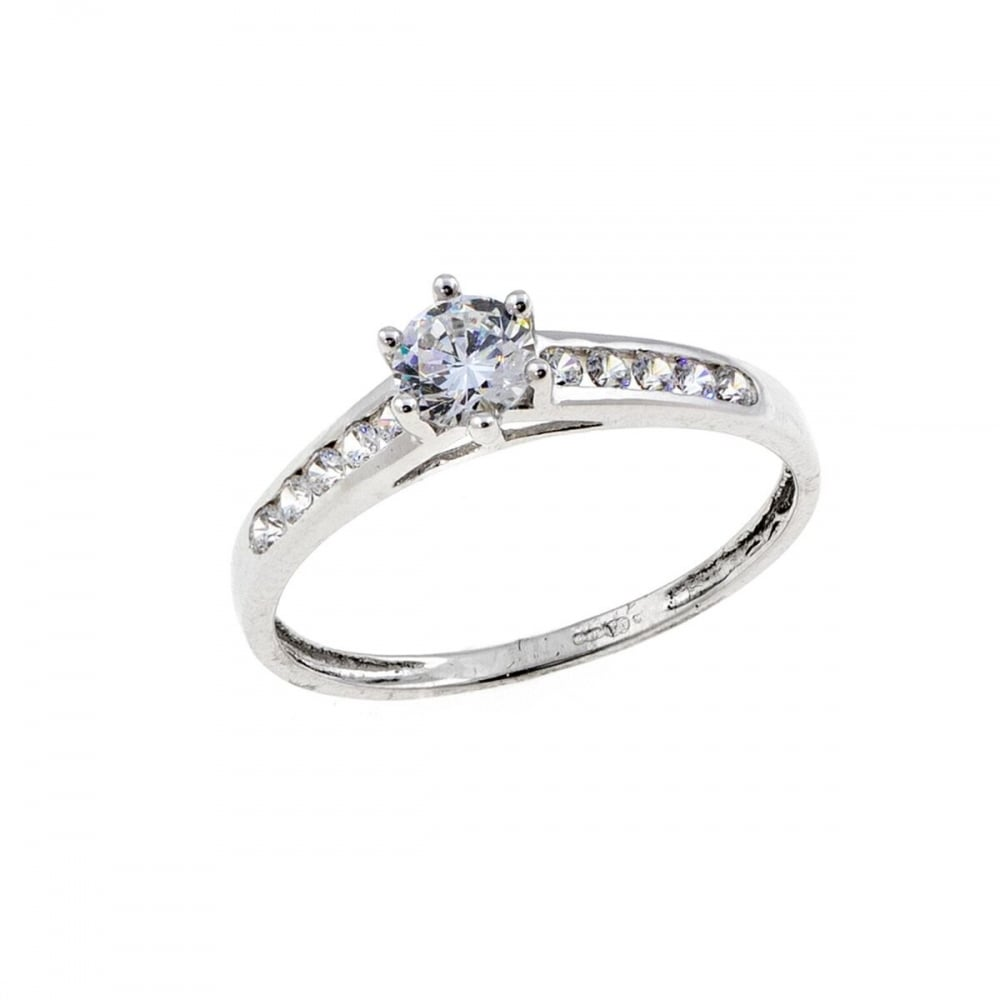 Eternity 9ct White Gold Cubic Zirconia Solitaire And Shoulder Ring Size K Jewellery From Eternity The Jewellery Store Uk