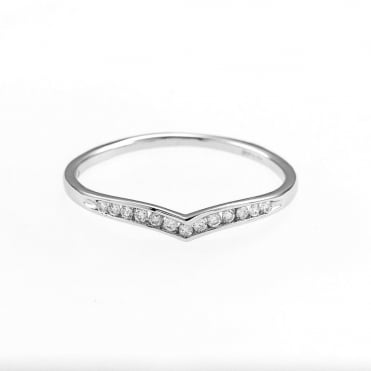 9ct White Gold Diamond Wishbone Shaped Ring