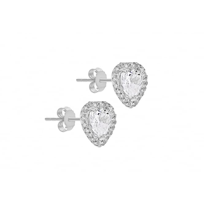 b4086f969 Eternity 9ct White Gold Heart Cubic Zirconia Halo Stud Earrings ...