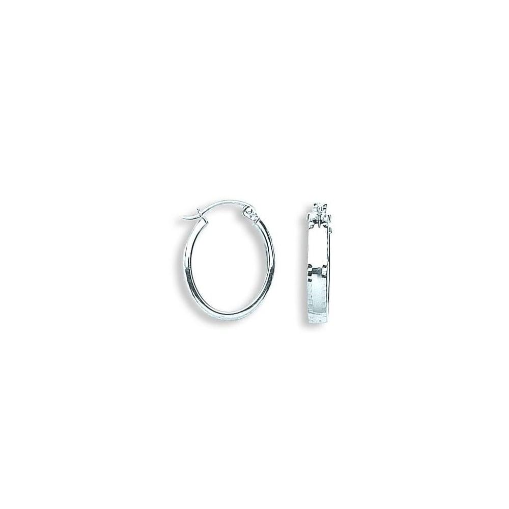 7893f263cad28 Eternity 9ct White Gold Oval Polished/Diamond Cut Edge Creole Hoop Earrings