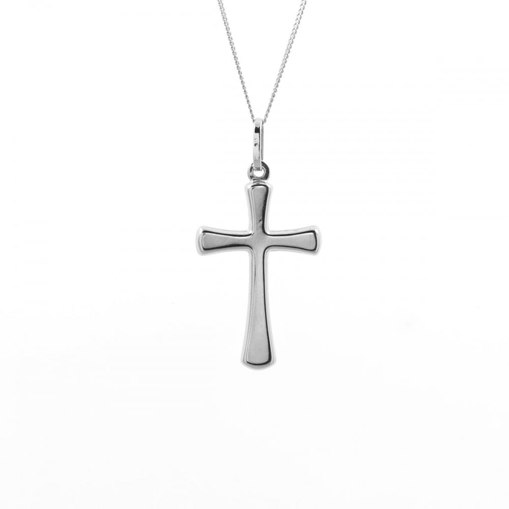 Eternity 9ct white gold plain cross pendant and 18 curb chain 9ct white gold plain cross pendant and 18039 aloadofball Image collections