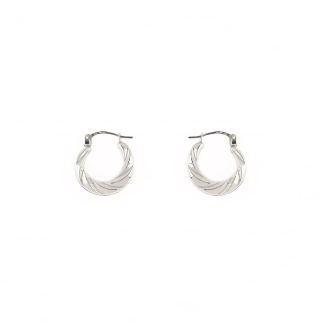 Eternity 9ct White Gold Small Ridged Creole Earrings