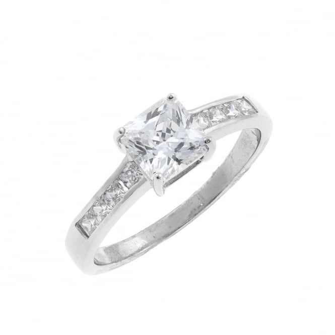 Eternity 9ct White Gold Square Cubic Zirconia Solitaire and Shoulder Set Ring Size L