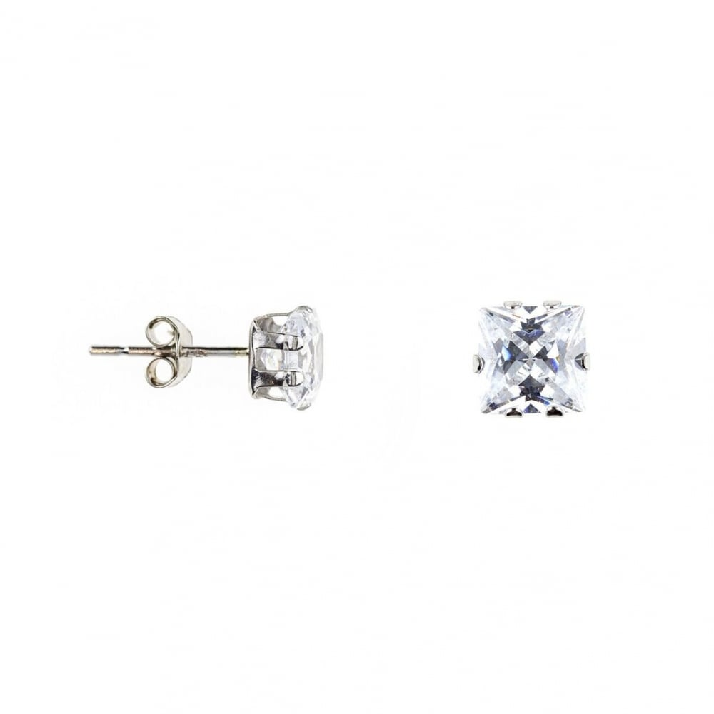 023fffb68 Eternity 9ct White Gold Square Cubic Zirconia Stud Earrings ...