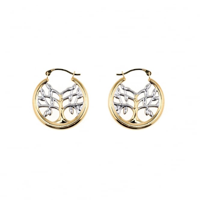 Eternity 9ct Yellow and White Gold Tree of Life Creole Earrings