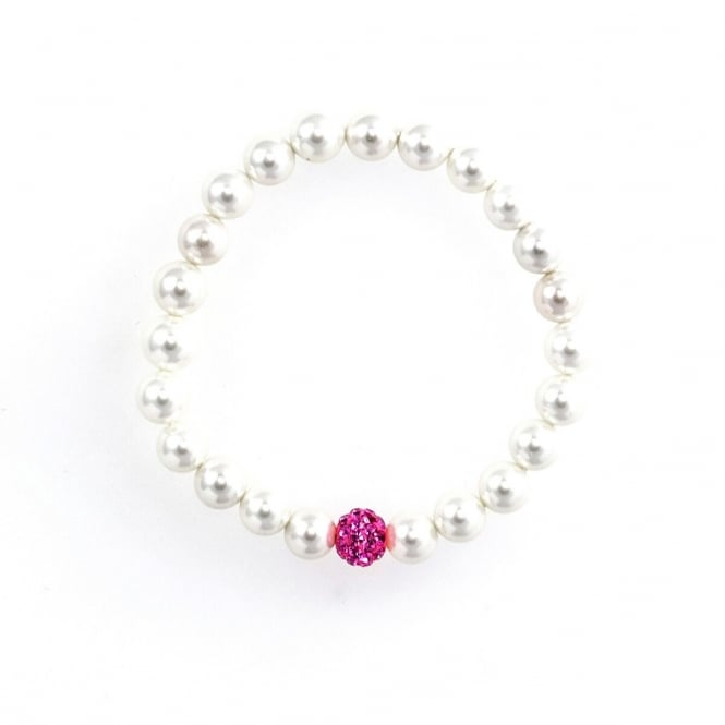 Eternity Childs Pearl and Pink Cubic Zirconia Crystal Ball Bracelet