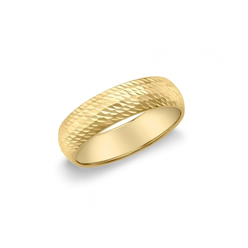 Eternity Ladies 9ct Gold 5mm Diamond Cut Wedding Ring Size R Engagement Rings From Eternity The Jewellery Store Uk