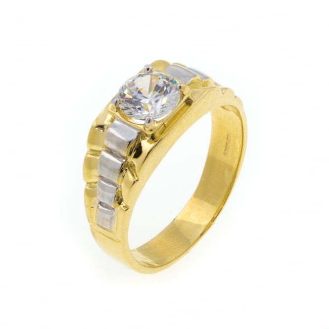 Eternity Mens 9ct 2 Colour Gold Cubic Zirconia Ring Size S