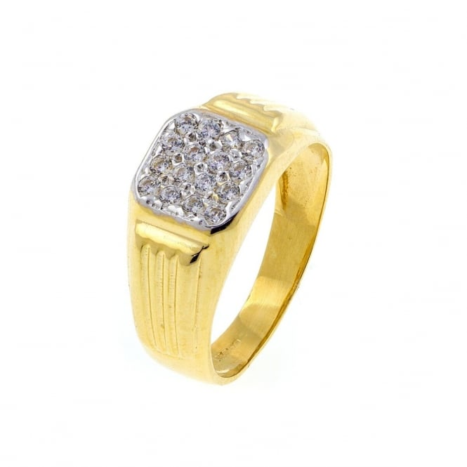 Eternity Mens 9ct Gold 16 Cubic Ziroconia Cushion Shape Ring Size X